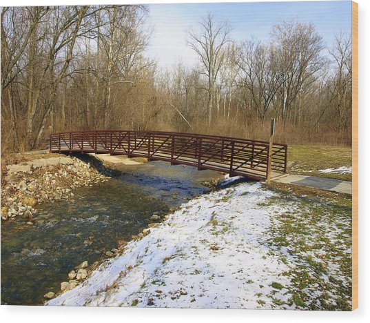 Bridge Over The Creek In Winter Wood Print by Mike Stanfield