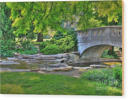 Bridge Over Waterway At Eden Park Wood Print