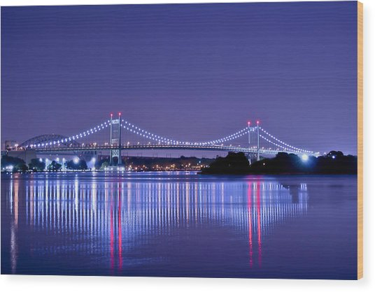 Tri-borough Bridge In Nyc Wood Print