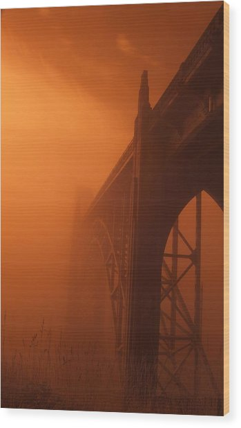 Bridge To The Mist In Red Wood Print