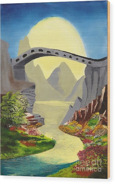 Bridge To The Moon Wood Print