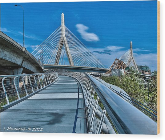 Bridges Meetting Wood Print by Lauren MacIntosh