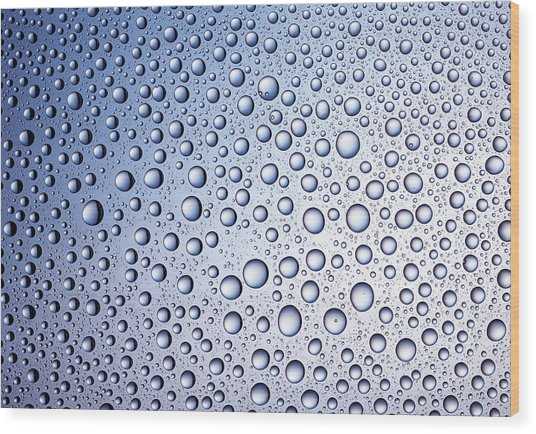 Bright Blue Regular Drops Of Condensation Wood Print by Anthony Bradshaw