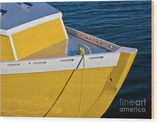 Bright Yellow Boat Wood Print