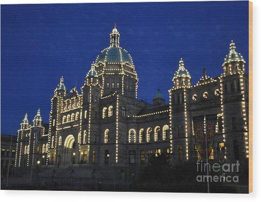 British Columbia Parliament Building At Night Wood Print by Tanya  Searcy