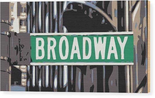 Broadway Sign Color 6 Wood Print
