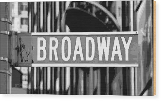 Broadway Sign Color Bw10 Wood Print