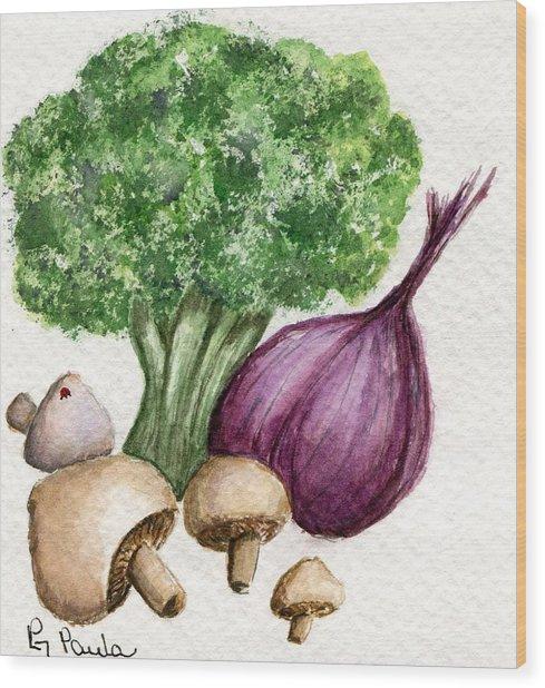 Broccoli Forest Wood Print
