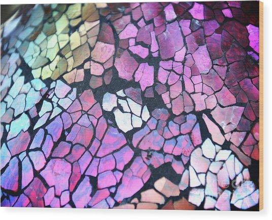 Broken Glass Mosaic Squares Wood Print by Angela Waye