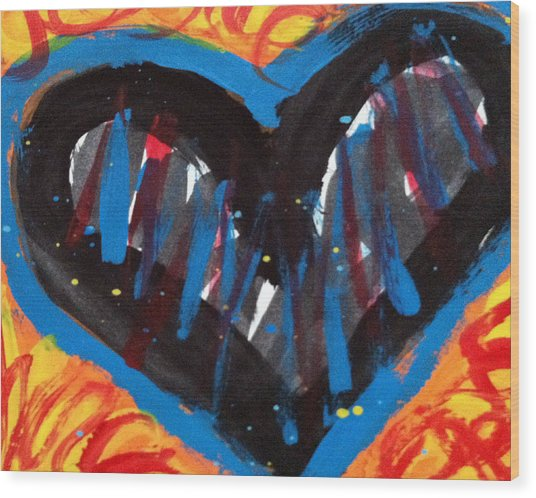 Broken Heart And Power Of Love Collide Wood Print by Bethany Stanko