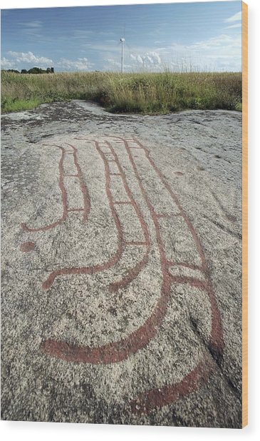 Bronze Age Petroglyph Wood Print by Bjorn Svensson