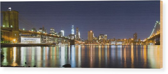 Brooklyn Bridge - Reflections Wood Print