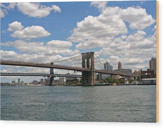 Brooklyn Bridge And Skyline Wood Print