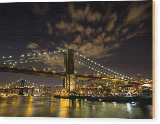 Brooklyn Bridge And Waterfront Wood Print by John Dryzga