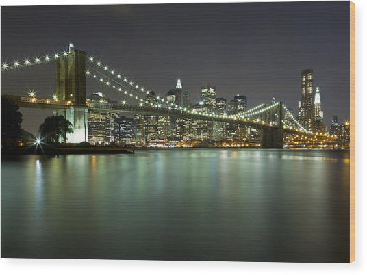 Brooklyn Bridge At Night 4 Wood Print