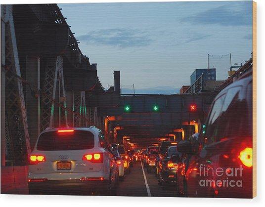 Brooklyn Bridge At Night Wood Print by Andrea Simon