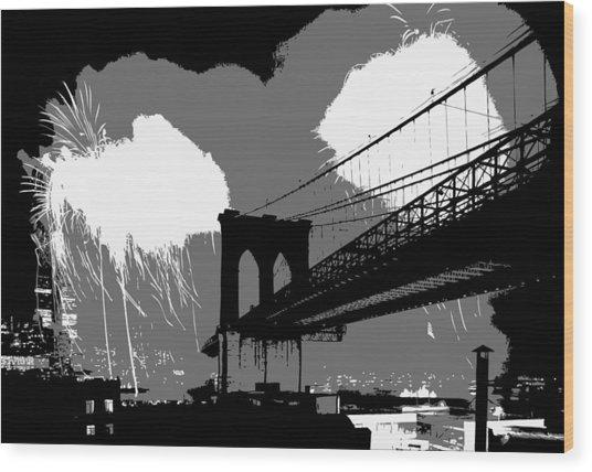 Brooklyn Bridge Fireworks Bw3 Wood Print