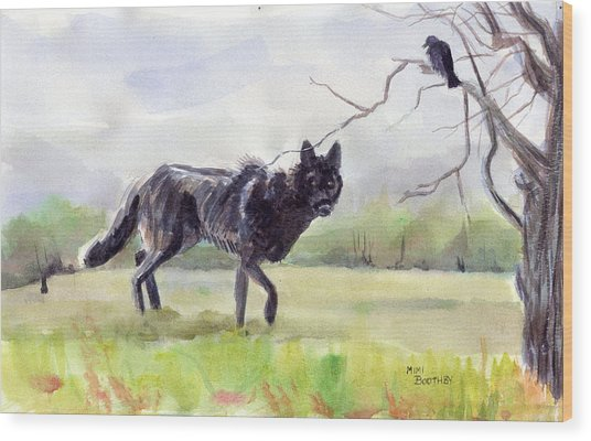 Brother Crow Announces The Arrival Of Brother Wolf Wood Print by Mimi Boothby