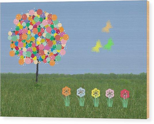 Bubblegum Tree Wood Print by Rosalie Scanlon