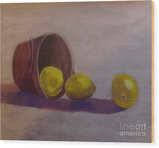 Bucket Of Lemons Wood Print