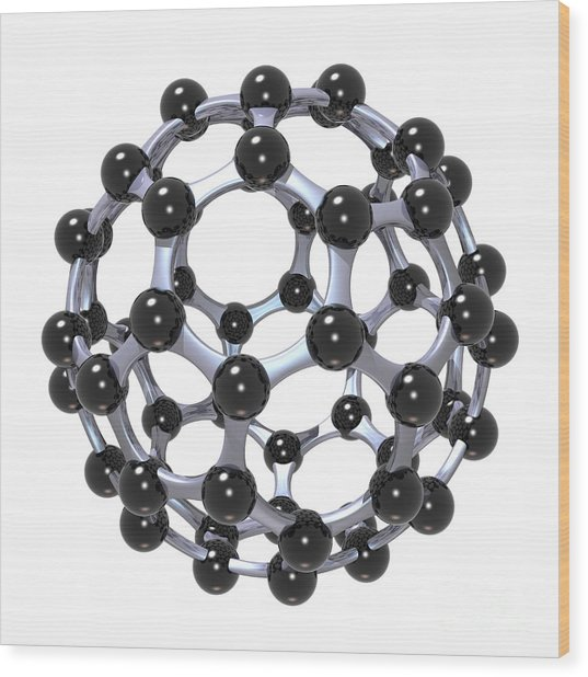 Buckminsterfullerene Or Buckyball C60 18 Wood Print