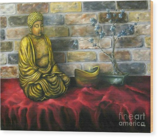 Buddha And Candle Wood Print by Patricia Lang