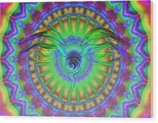 Buddha Eyes Wood Print by Wayne Bow