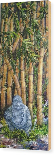 Buddha In The Bamboo Garden Wood Print by Annie St Martin