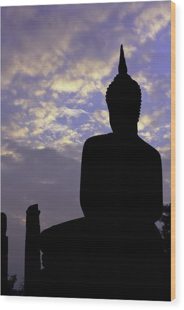 Buddha Silhouette Wood Print by Thomas  von Aesch
