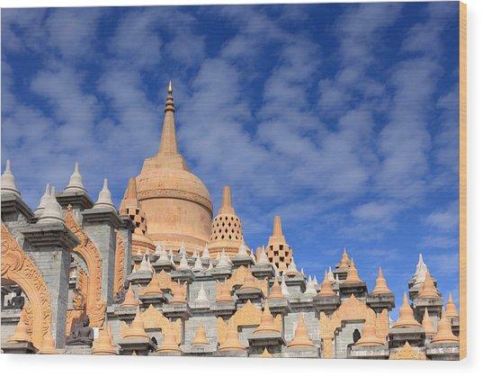 Buddhist Temple In Roi-et Wood Print by Thomas  von Aesch