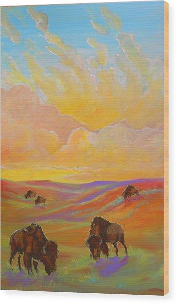 Buffalo Sunrise Wood Print