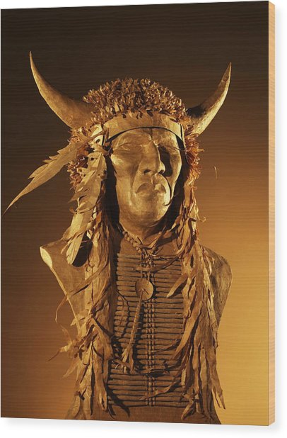 Buffalo Warrior Wood Print by Monte Burzynski