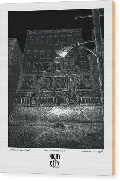 Building With Street Light Wood Print