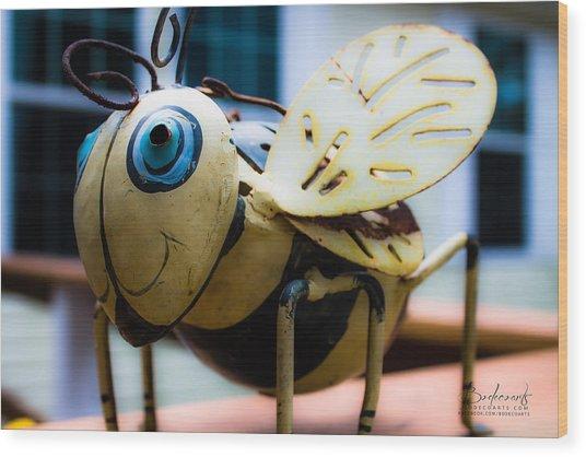 Bumble Bee Of Happiness Metal Sculpture Wood Print