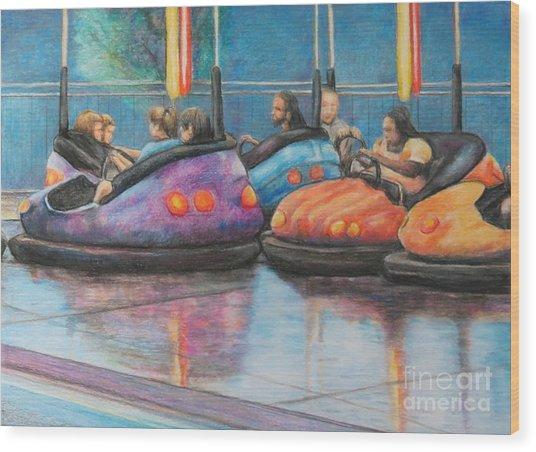 Bumper Car Traffic Jam Wood Print by Charlotte Yealey