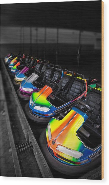 Bumper Cars Wood Print by Mark Dottle