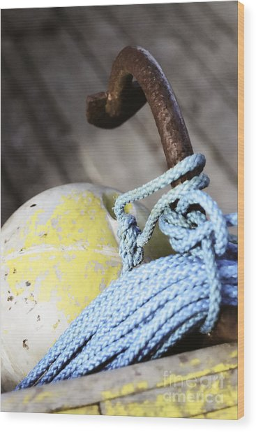 Buoy Rope And Anchor Wood Print