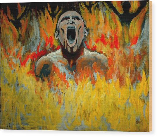 Burning In Hell Wood Print by Anthony Renardo Flake