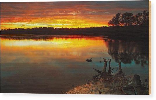 Burning Lake Wood Print