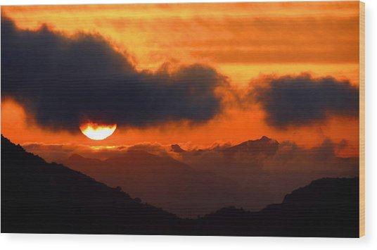 Burning Sunset  Wood Print by Catherine Natalia  Roche
