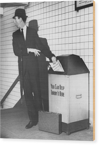 Business Man Tossing Newspaper Wood Print by George Marks