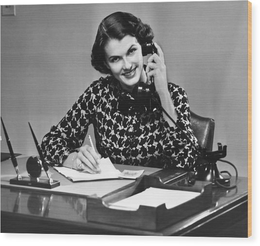Businesswoman On Telephone Wood Print by George Marks