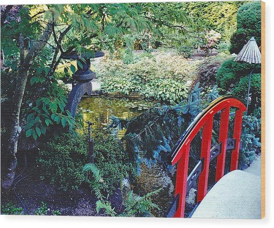 Butchart Gardens Japanese Bridge Wood Print