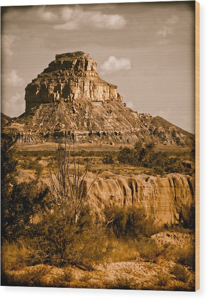 Chaco Canyon, New Mexico - Butte Wood Print