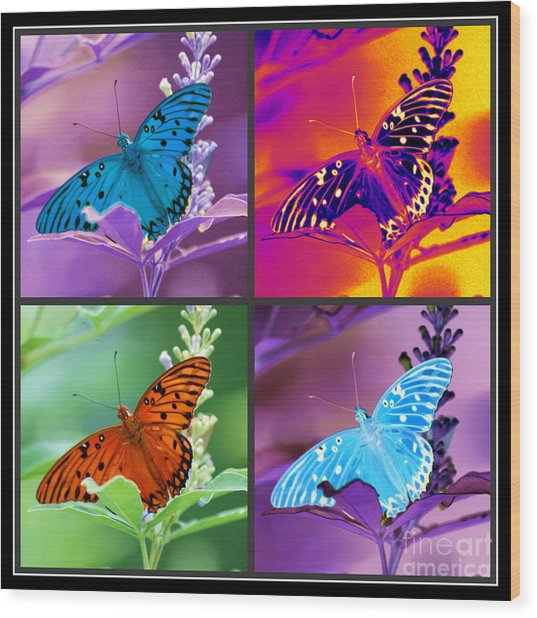 Butterfly Collage Wood Print