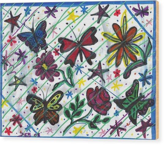Butterfly Doodles Wood Print by Debbie Wassmann