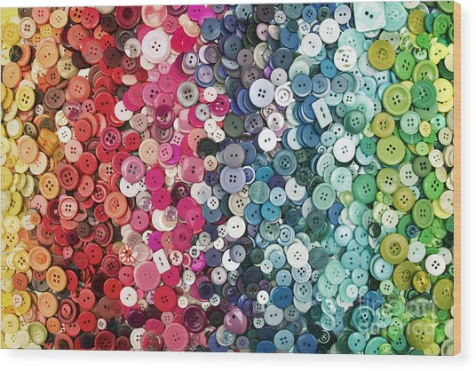Button Button Wood Print by Catherine MacBride