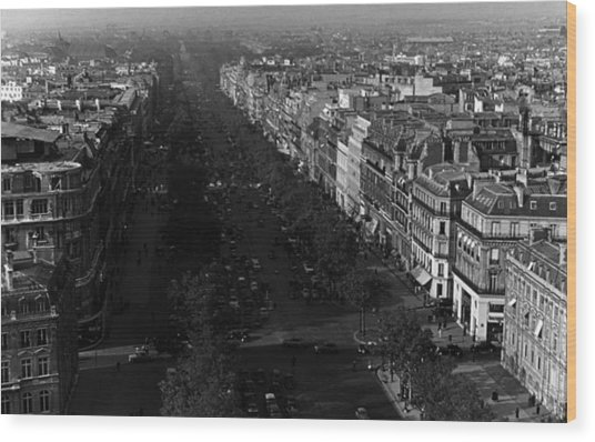 Bw France Paris Champs Elysees Avenue 1970s Wood Print by Issame Saidi