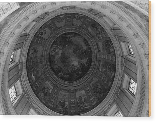 Bw France Paris Dome Fresco Charles De La Fosse 1970s Wood Print by Issame Saidi