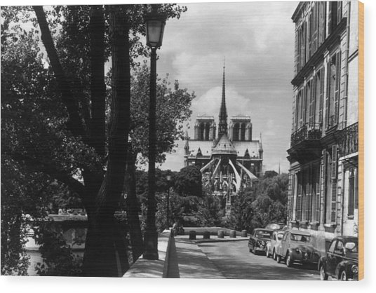 Bw France Paris Notre Dame Saint Louis Island 1970s Wood Print by Issame Saidi